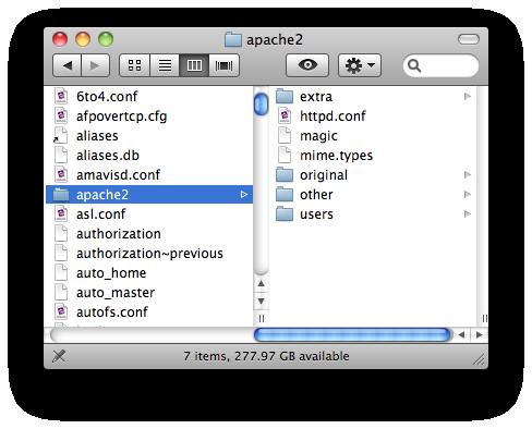 folder screenshot of /etc/apache2/