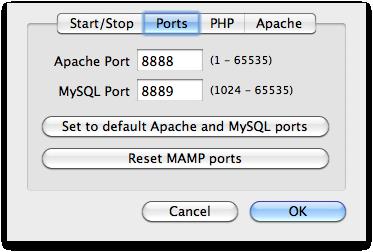 MAMP Preferences Apache