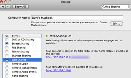 Web Sharing System Preferences